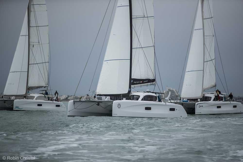 Drei Outremer 45 Kate unter Segel