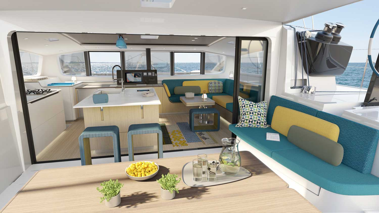 New Outremer 55 Performance-Catamaran cockpit and salon