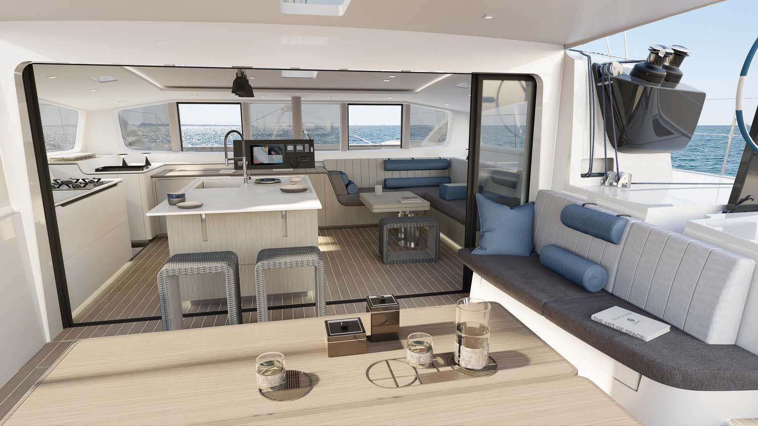 New Outremer 55 Performance-Catamaran salon and pantry