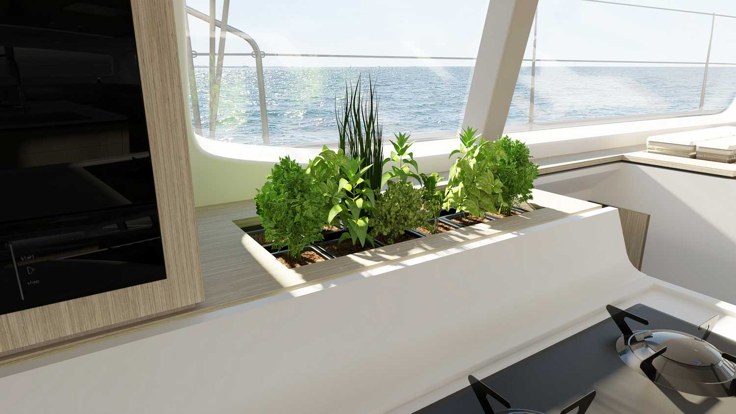 New Outremer 55 Performance-Catamaran herb garden